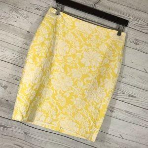 NWT Ann Taylor Pencil Skirt Floral Yellow White 8